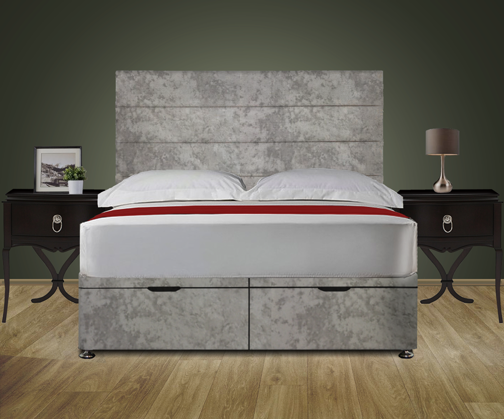 Stripes Ottoman Storage Bed With Headboard And Orthopaedic